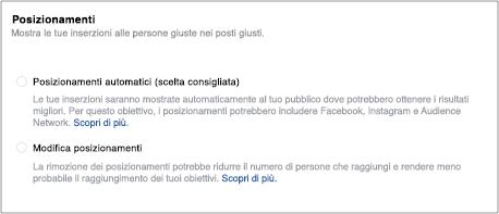 Posizionamenti Facebook