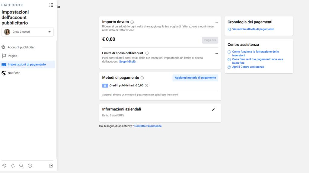 Primi passi in FB Business Manager_ Aggiungi metodo di pagamento