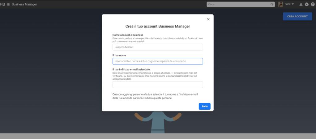 primi passi in facebook business manager_crea account